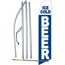 Ice Cold Beer Blue Swooper Flag Bundle