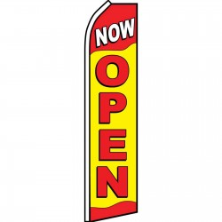 Now Open Red Yellow Swooper Flag