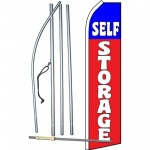 Self Storage Red Blue Swooper Flag Bundle