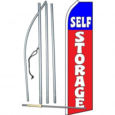 Self Storage Red Blue Swooper Flag Bundle