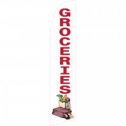 Groceries White Windless Swooper Flag