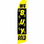 We Buy Gold Black Swooper Flag