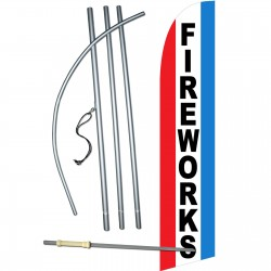 Fireworks Red White Blue Windless Swooper Flag Bundle