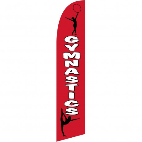 Gymnastics White/Red Windless Swooper Flag