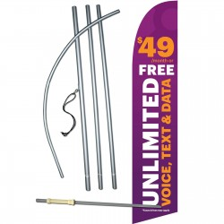 Solavei Purple $49 Unlimted Windless Swooper Flag Bundle