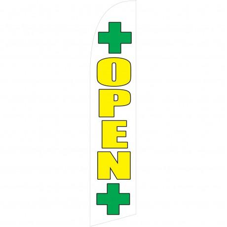 Open Dispensary White Swooper Windless Flag
