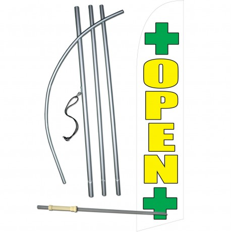 Open Dispensary White Swooper Windless Flag Bundle