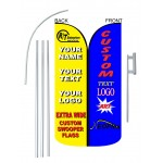 Custom Extra Wide Swooper 12' Flag Double Sided Bundle