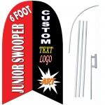 Custom Junior 6' Swooper Flag Double Sided Bundle