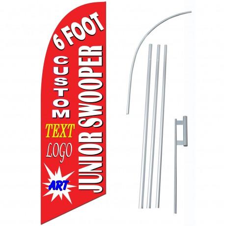 Custom Junior 6' Swooper Flag Single Sided Bundle