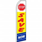 Stop Save Now Yellow Swooper Flag