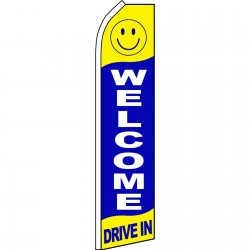 Welcome Drive In Blue Swooper Flag