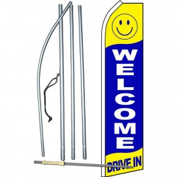 Welcome Drive In Blue Swooper Flag Bundle