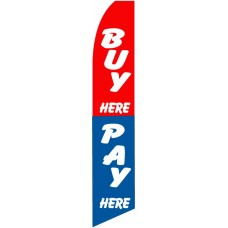 Buy Here Pay Here Red Blue Swooper Flag