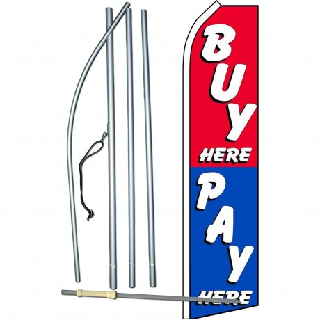 Buy Here Pay Here Red Blue Swooper Flag Bundle