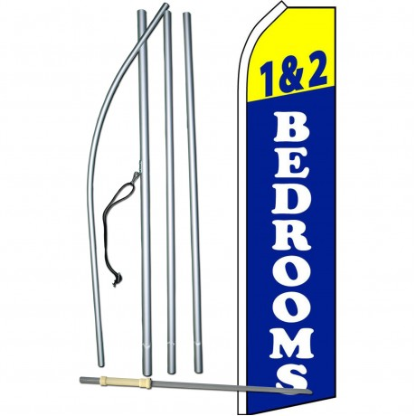 1 & 2 Bedrooms Blue Swooper Flag Bundle