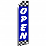 Open Blue Checker Swooper Flag