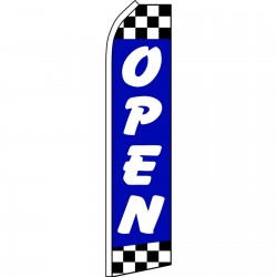 Open Blue Checker Swooper Flag
