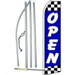 Open Blue Checker Swooper Flag Bundle