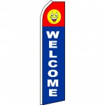 Welcome Blue Smiley Swooper Flag