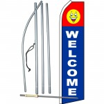 Welcome Blue Smiley Swooper Flag Bundle