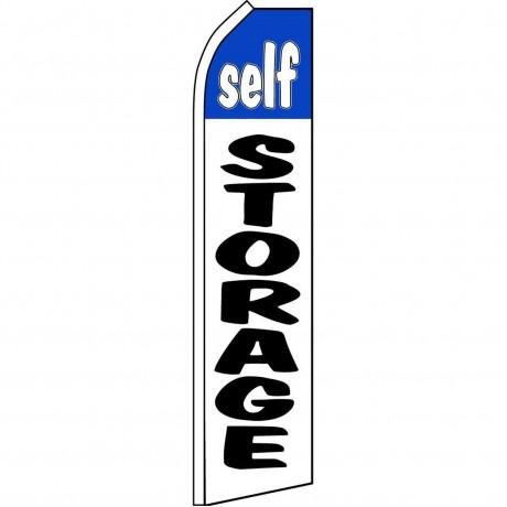 Self Storage White Blue Swooper Flag