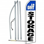 Self Storage White Blue Swooper Flag Bundle