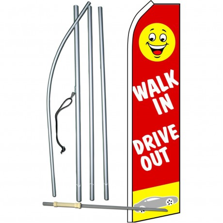 Walk In Drive Out Red Swooper Flag Bundle