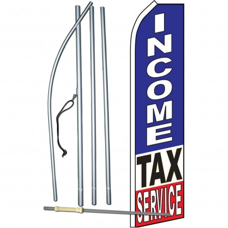Income Tax Service Blue Swooper Flag Bundle