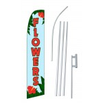 Flowers Blue Red Swooper Flag Bundle
