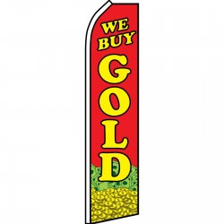 We Buy Gold Red Coin Swooper Flag