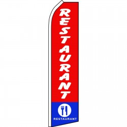 Restaurant Red Blue Swooper Flag