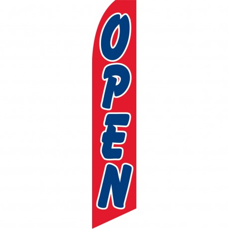 Open Red with Blue Letters Swooper Flag