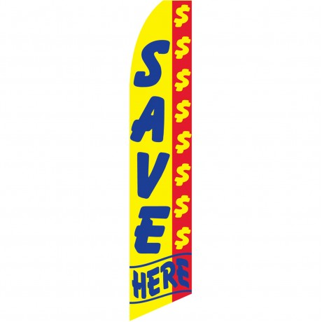 Save Here Yellow Swooper Flag