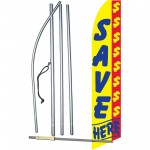 Save Here Yellow Swooper Flag Bundle