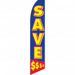 Save $ Blue Swooper Flag