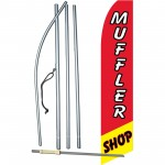Muffler Shop Red Swooper Flag Bundle