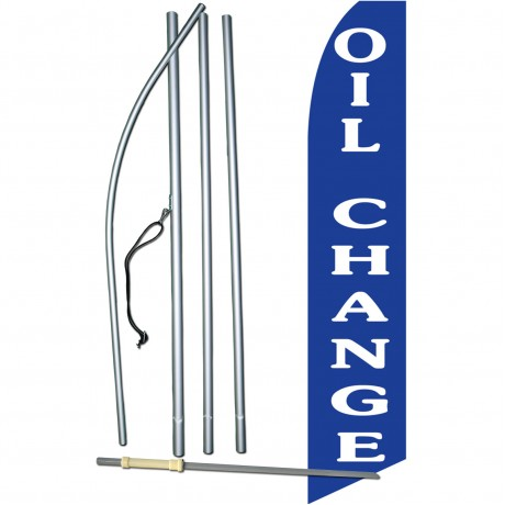 Oil Change Blue Swooper Flag Bundle