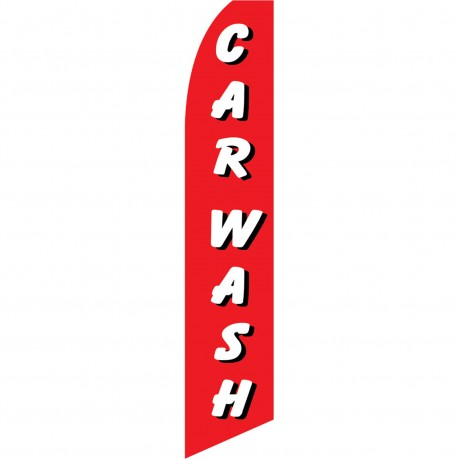 Car Wash Red White Swooper Flag