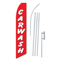 Car Wash Red White Swooper Flag Bundle