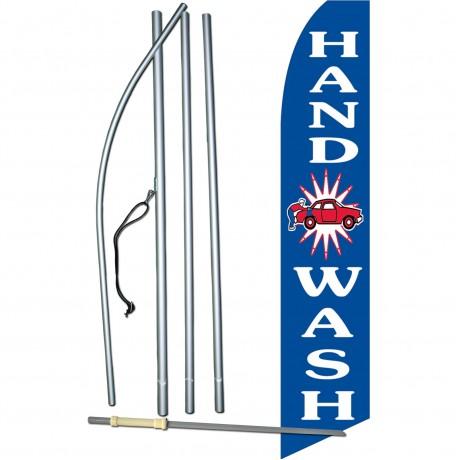 Hand Car Wash Blue Swooper Flag Bundle