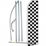 Checkered Black & White Swooper Flag Bundle