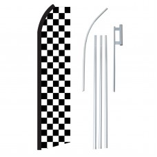 Checkered Black & White Swooper Flag Bundle