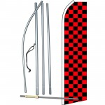 Checkered Black & Red Swooper Flag Bundle