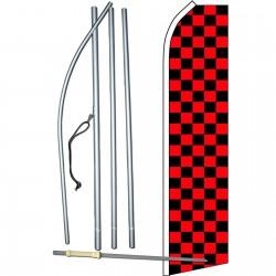 Checkered Black & Red Swooper Flag Bundle