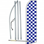 Checkered Blue & White Swooper Flag Bundle