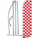 Checkered Red & White Swooper Flag Bundle