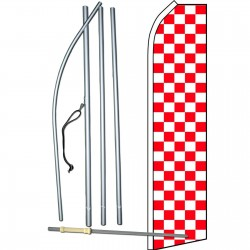 Checkered Red/Wht Swooper Flag Bundle