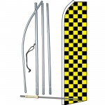 Checkered Black & Yellow Swooper Flag Bundle