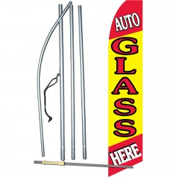 Auto Glass Here Yellow Swooper Flag Bundle